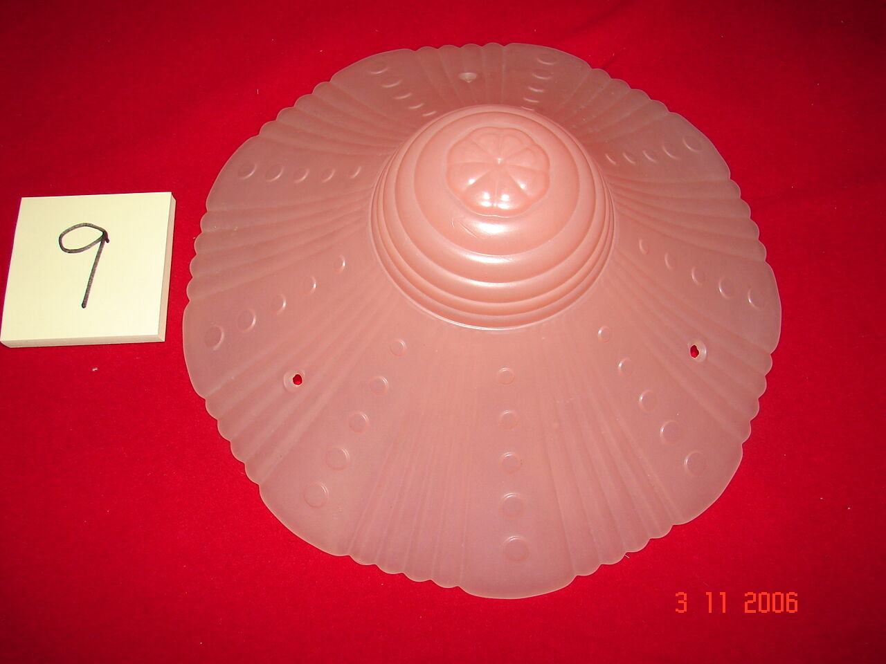 Art Deco Depression Era Ceiling Shade # 9 - Pink Lines & Dots - 3 Hole Mount