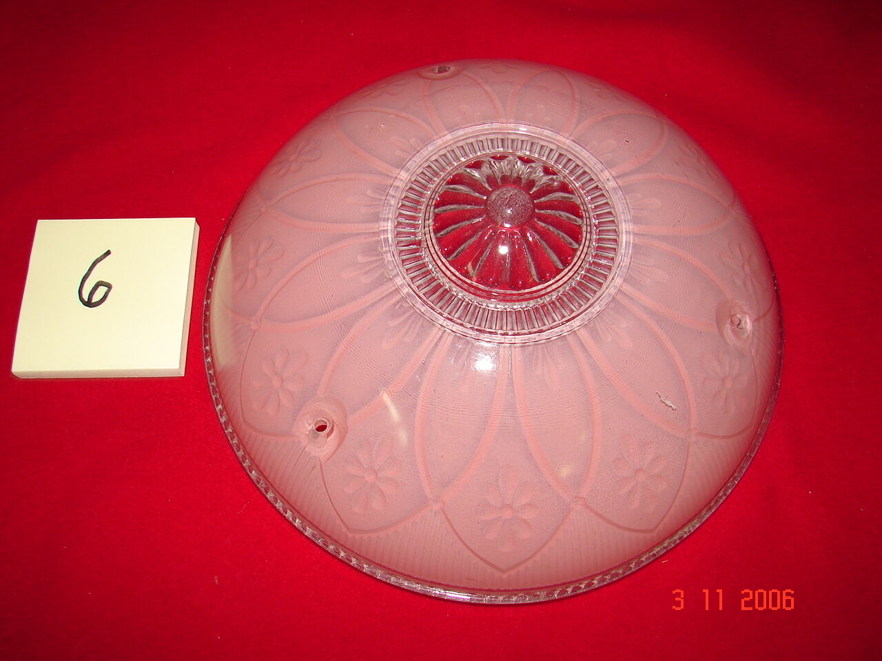 Art Deco Depression Era Ceiling Shade # 6 - Pink & Clear Flowers - 3 Hole Mount