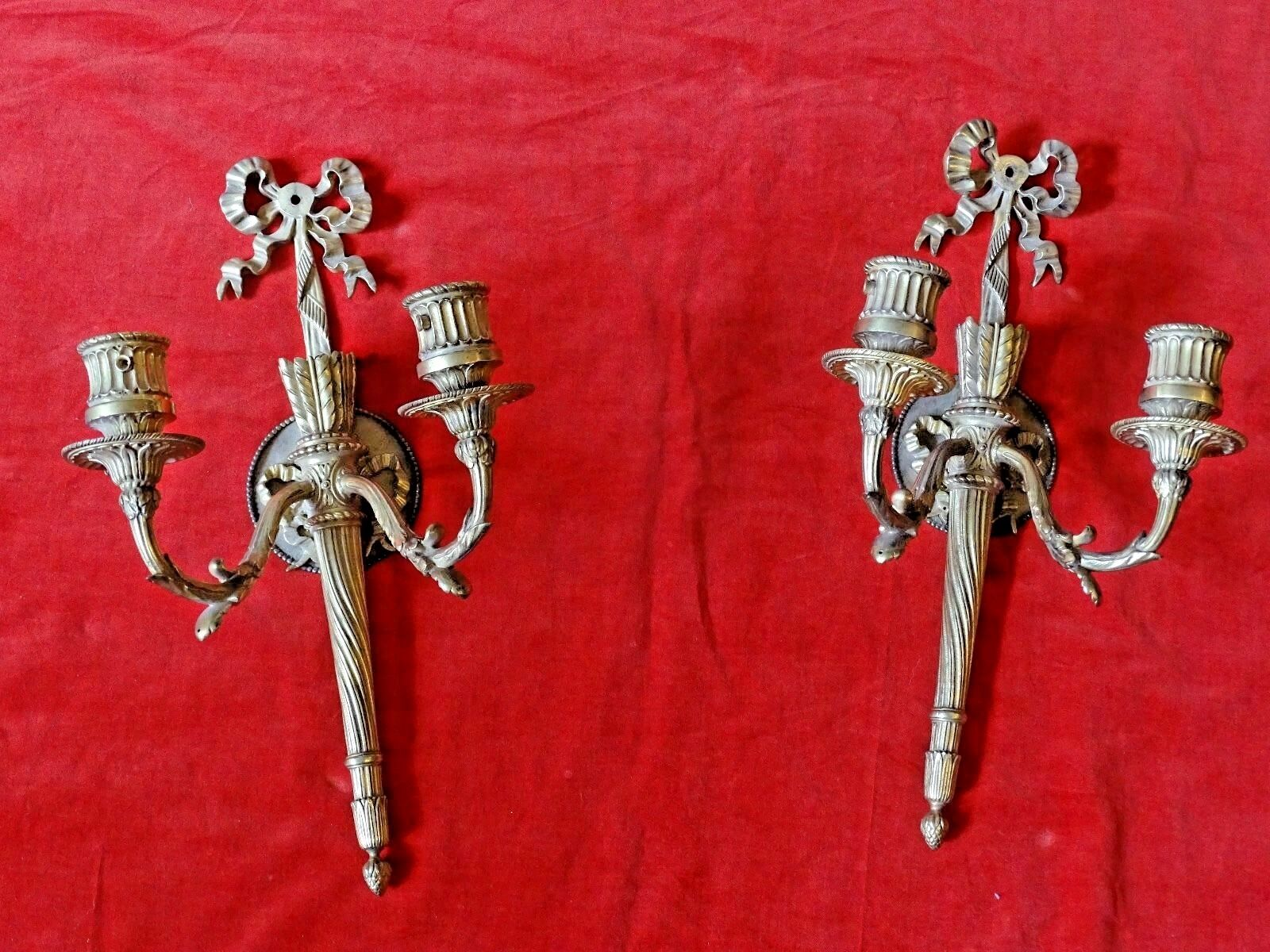 MAGNIFICENT ANTIQUE pair of ORNATE BRONZE WALL SCONCES SUPERIOR QUALITY lighting
