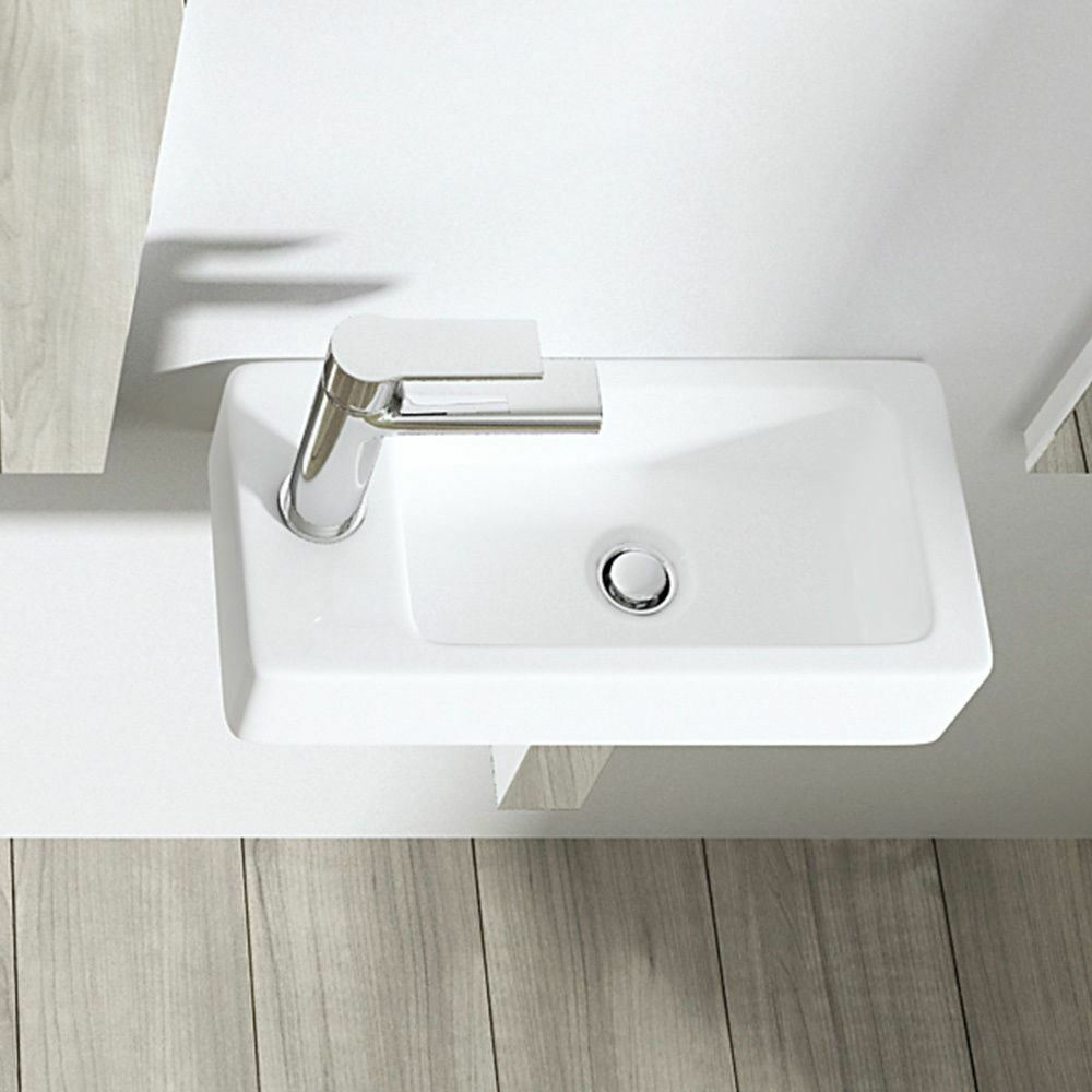 Compact Square Rectangle Cloakroom Sink Basin Wall Hung