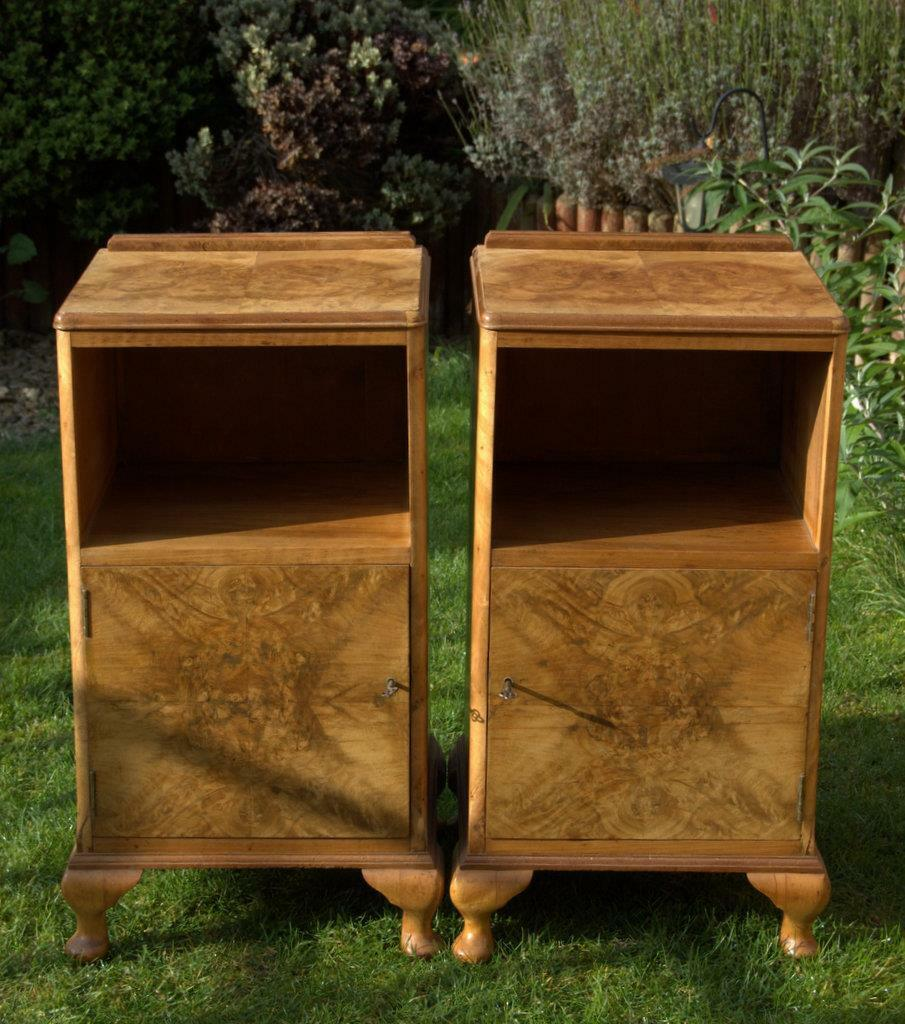 Pair of Burr Walnut Art Deco Bedside Cabinets (pick up from Bath or Guildford)