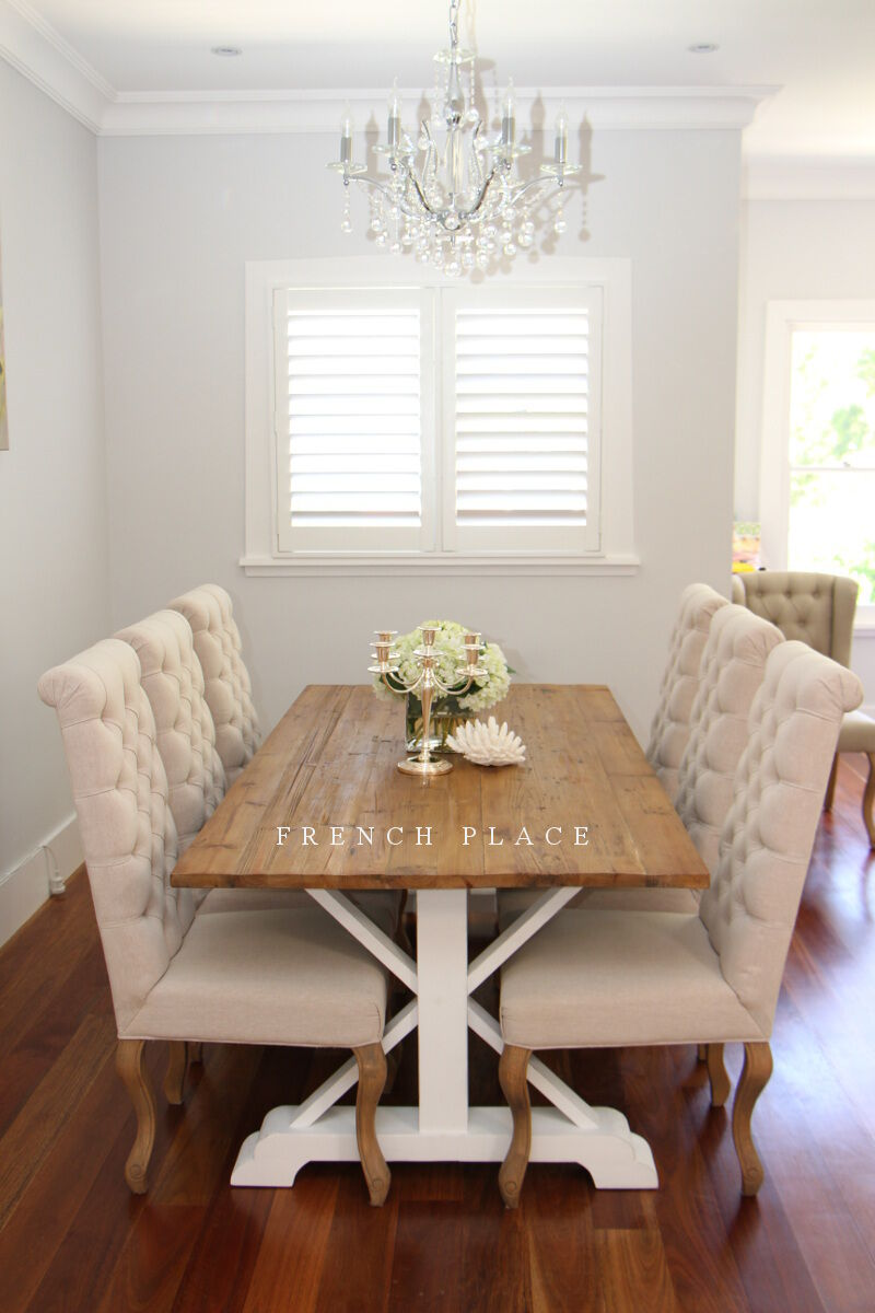 New hamptons style reclaimed timber dining table aud 795 for Latest style dining table