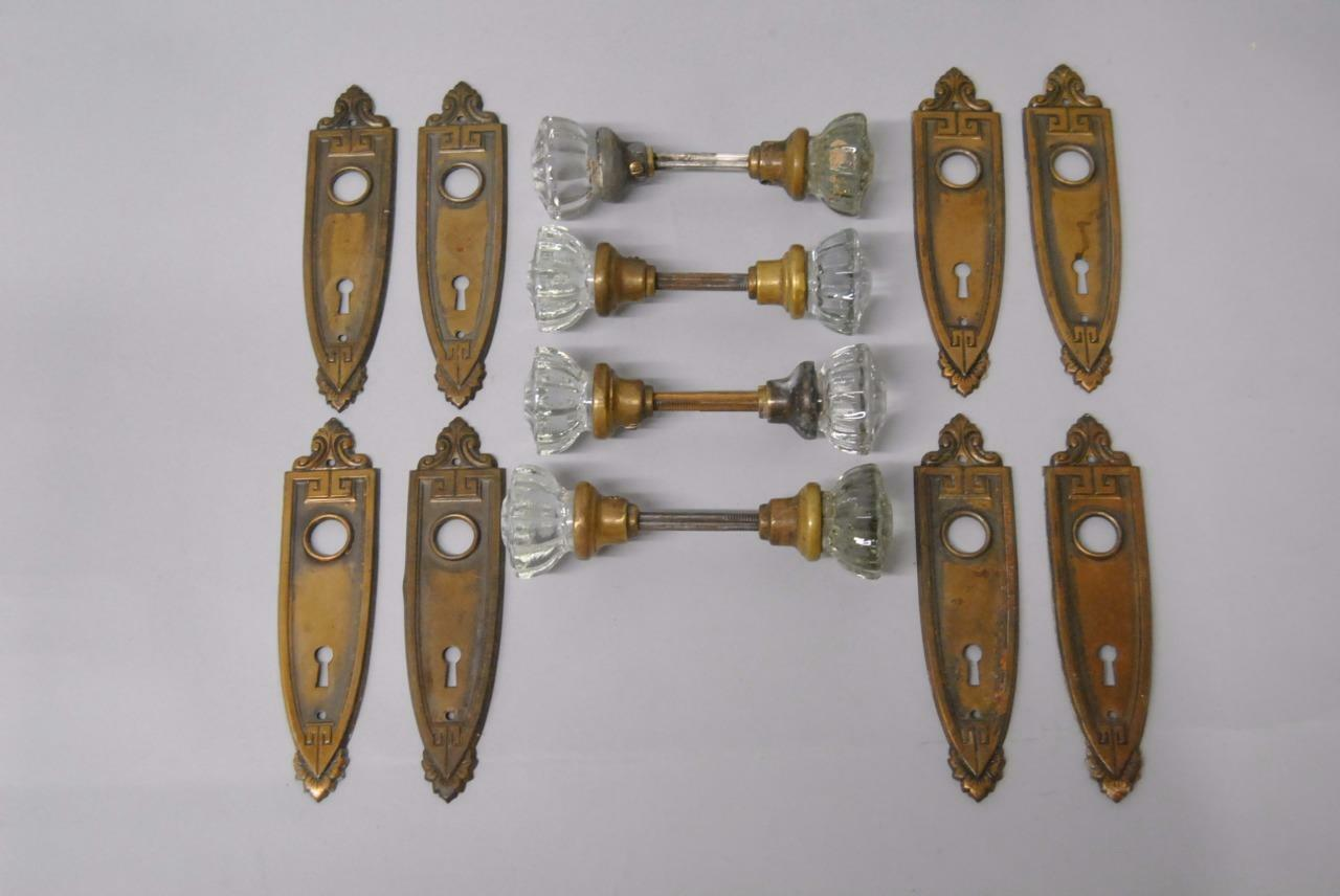 Four Pair Art Deco Antique Stamped Door Plate With Cut Glass Handles / Knobs