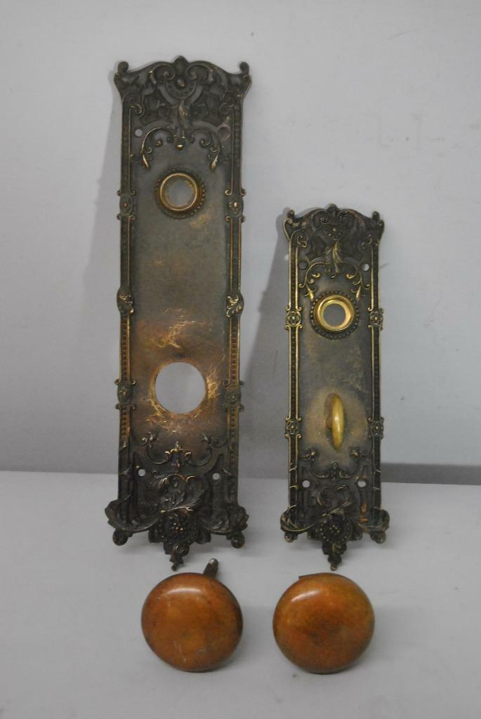 Pair Of Antique Victorian Style Heavy Brass Entry Door Back Plates And Knobs