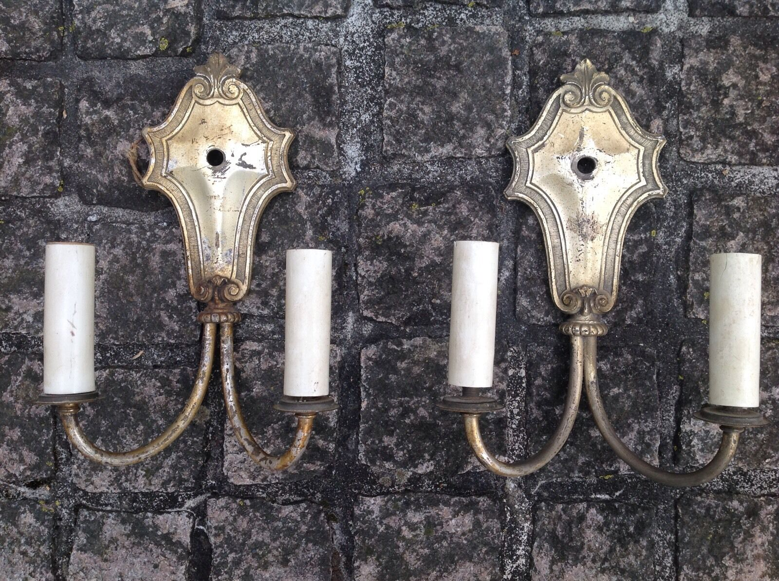 Pair SILVER PLATE Antique GOTHIC REVIVAL Arts & Crafts Period Wall SCONCES Lamps