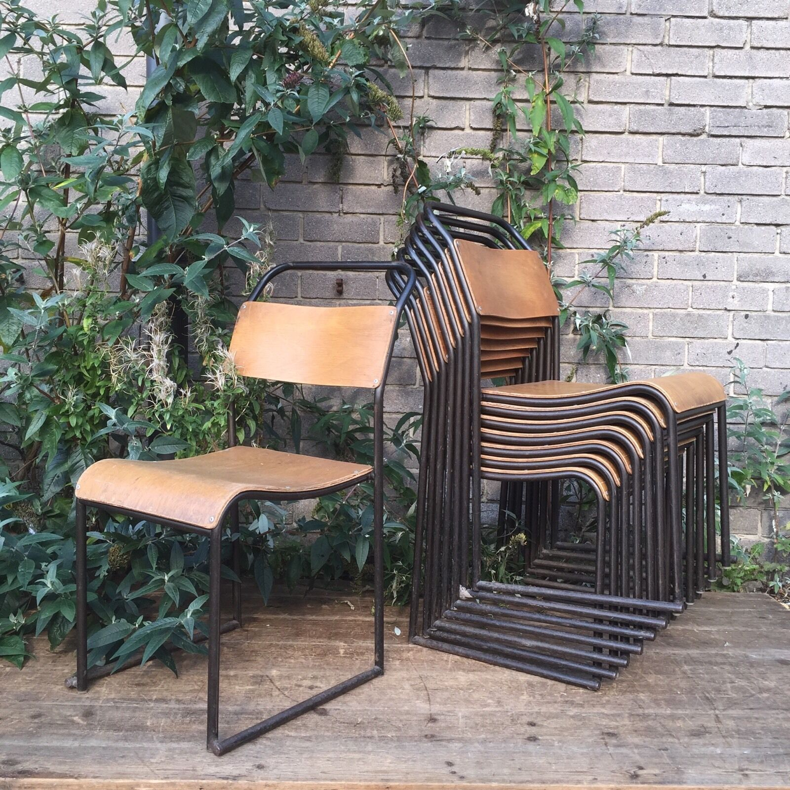 VINTAGE INDUSTRIAL TUBULAR STACKING CHAIRS - CAFE CHAIRS - Lots Available