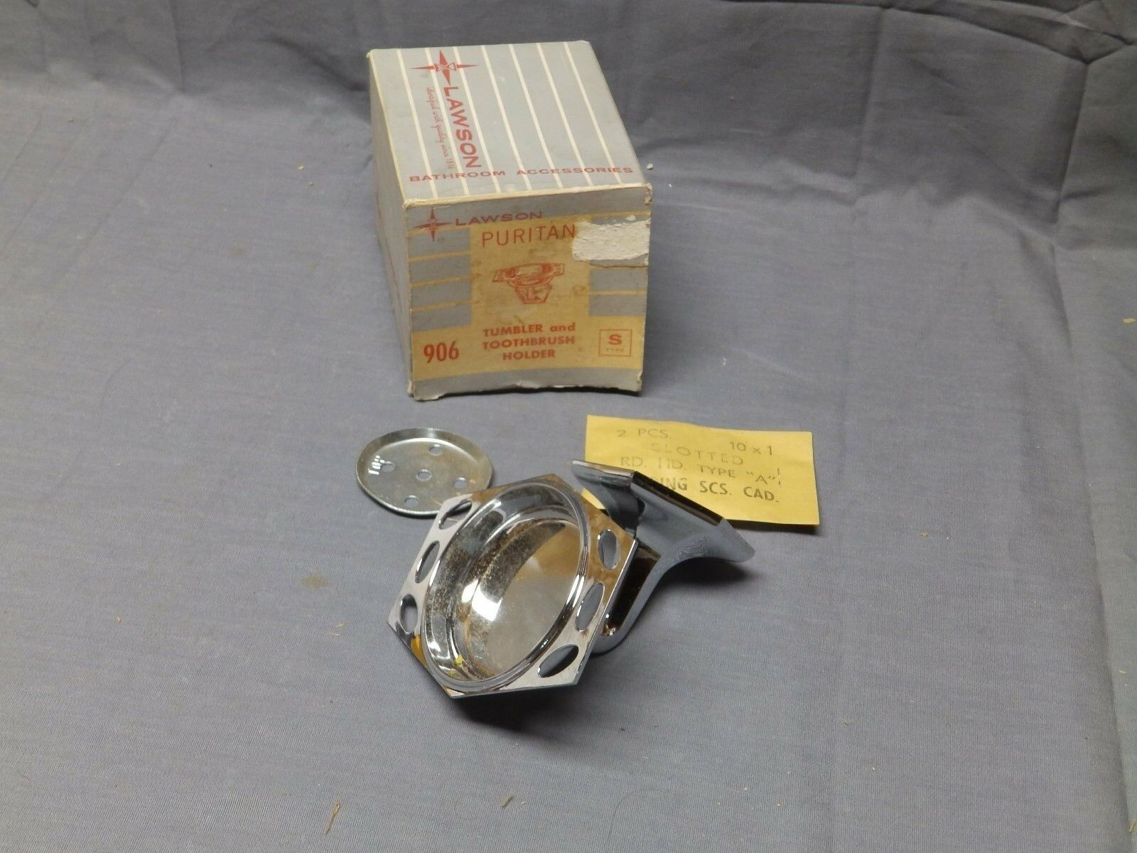 Vtg Chrome Art Deco NOS Toothbrush Cup Tumbler Holder Old Lawson Fixture 2121-16