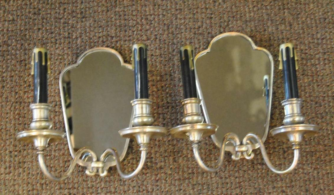 Antique Pair Silverplate Double Wall Sconces Mirrored Backs Sterling Bronze Co.
