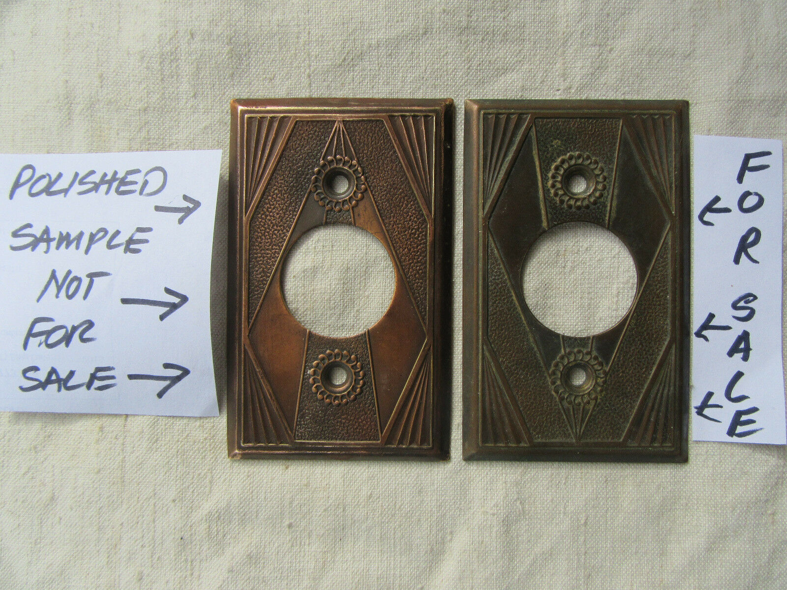 Vintage Art Deco Style Switch Plate Solid Brass Circa 1930