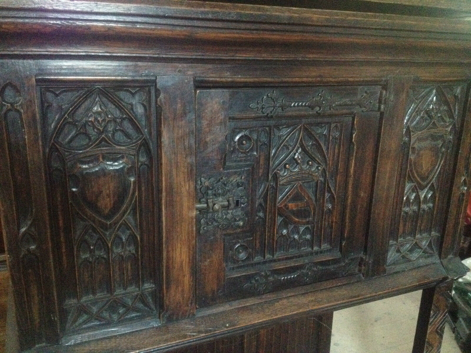Carved Solid Oak Gothic Revival Bible Box Livery Cabinet 18th Century Cupboard