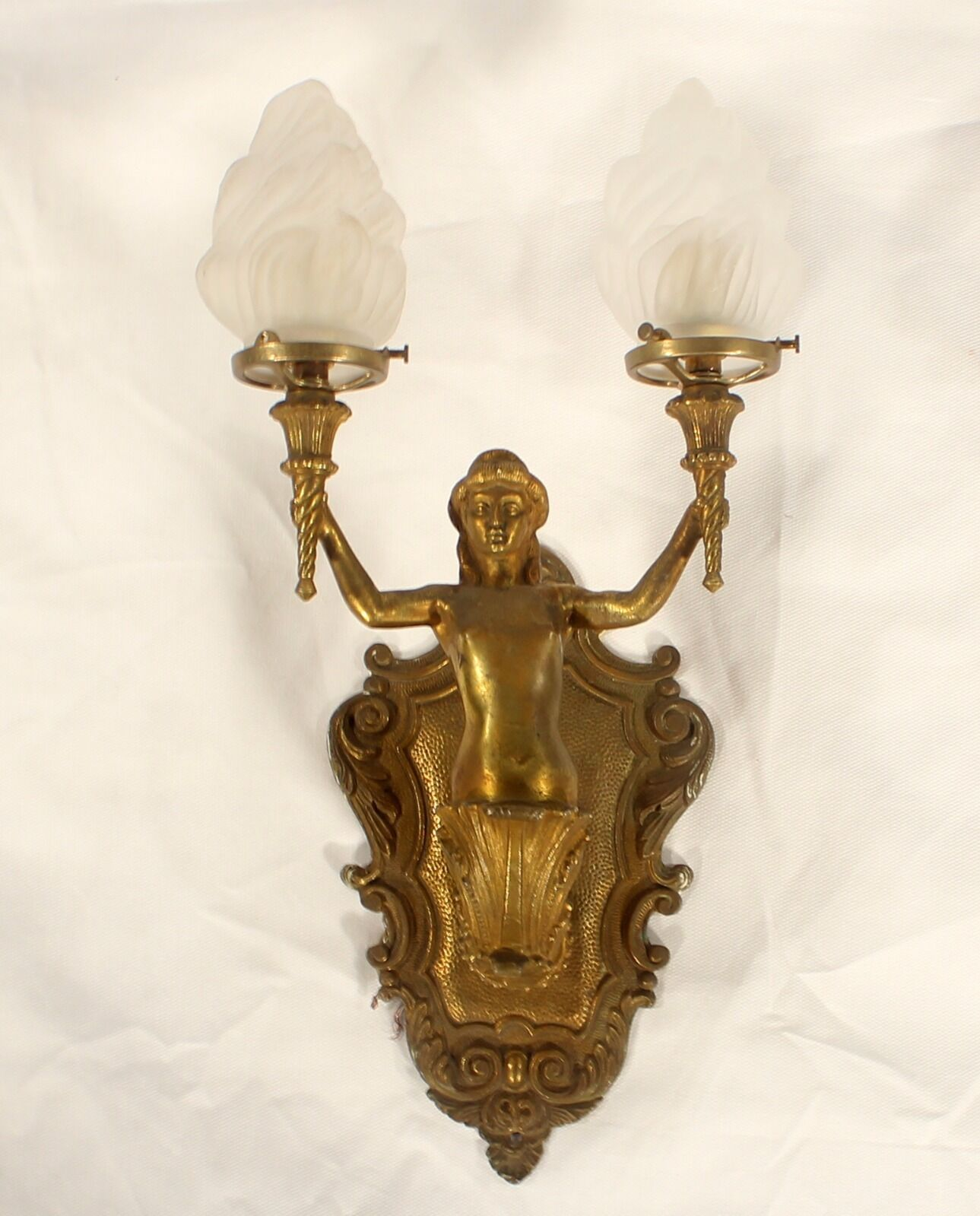 Antique Spanish Cast Bronze 1950's Gold  Lady Holding 2 Torches Sconce