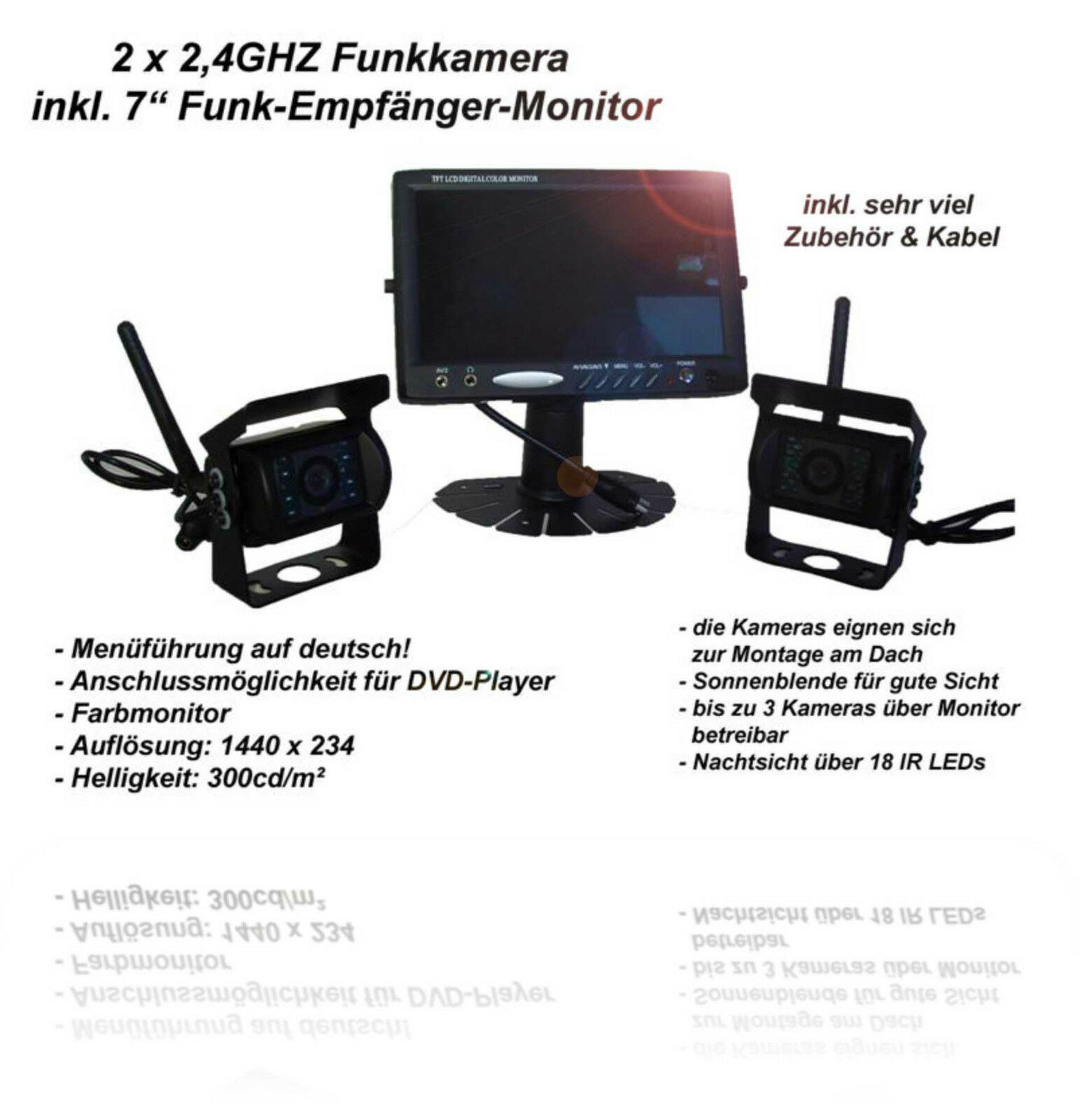 2 x funk kamera r ckfahrkamera mit nachtsicht 7 tft monitor 12v 24v lkw eur 279 95. Black Bedroom Furniture Sets. Home Design Ideas