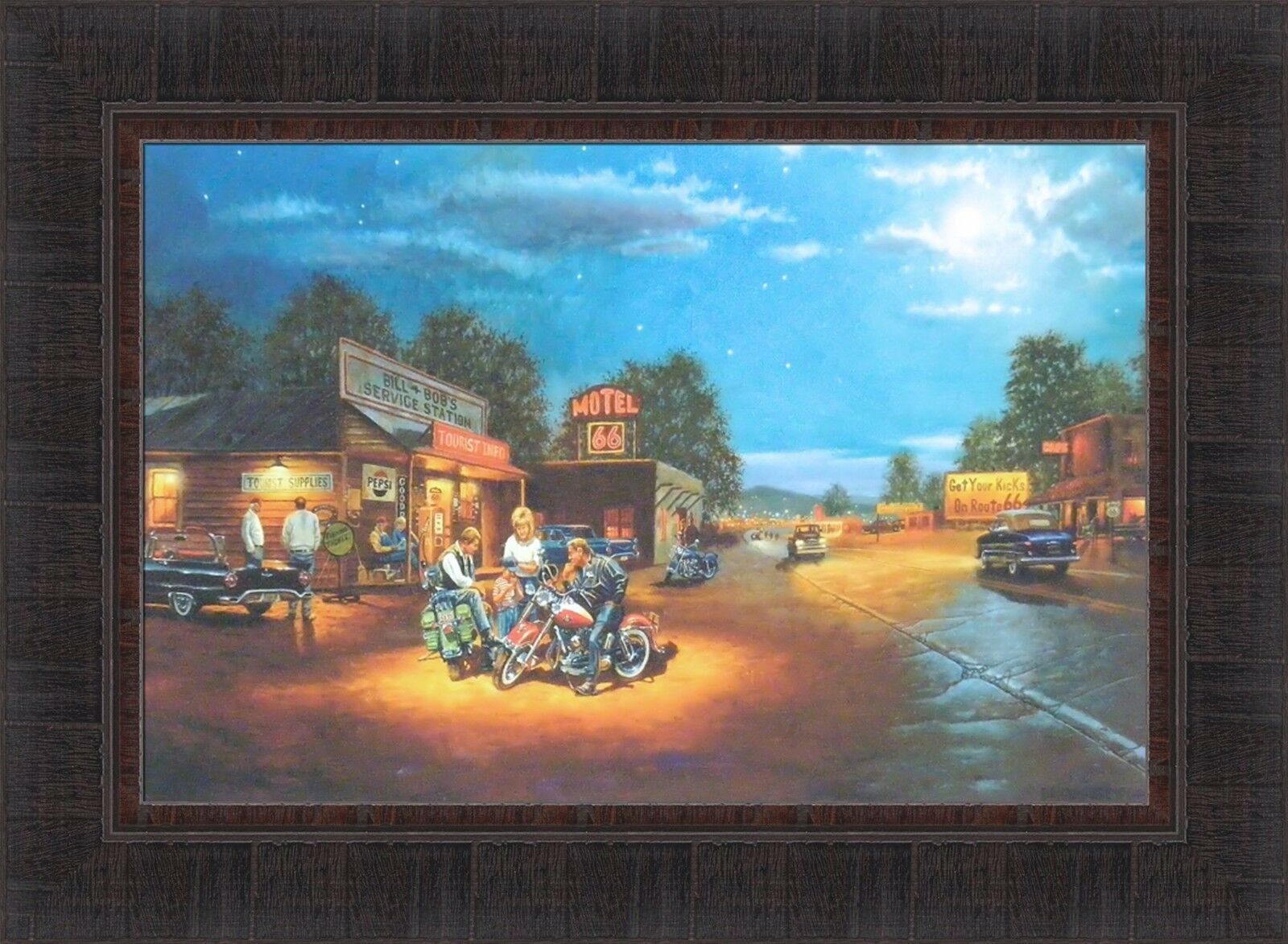 ROUTE 66 BY Dave Barnhouse 17x23 FRAMED ART PRINT Harley Davidson ...