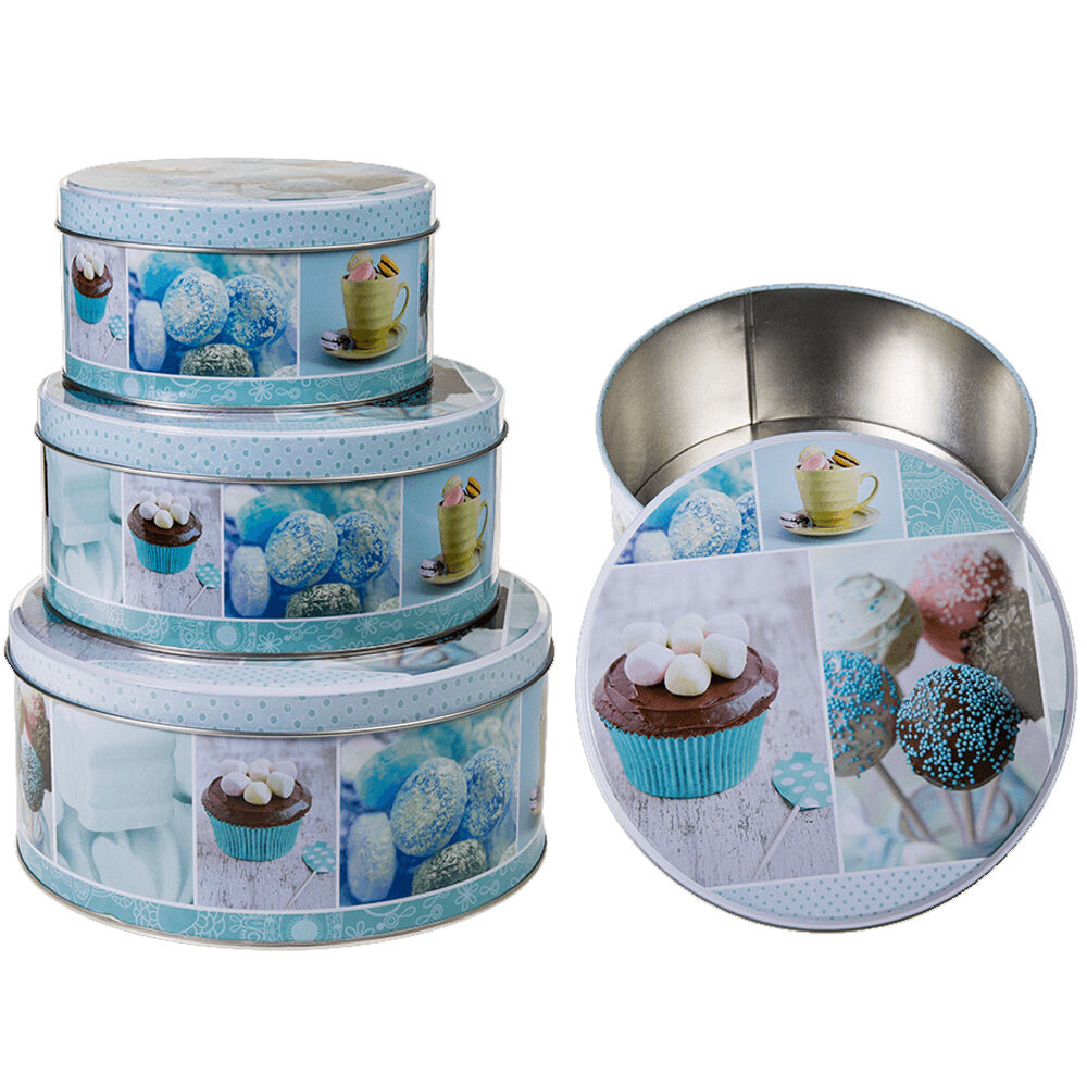 SET OF 3 Cake Storage Tin Cupcake Cookies Box Kitchen