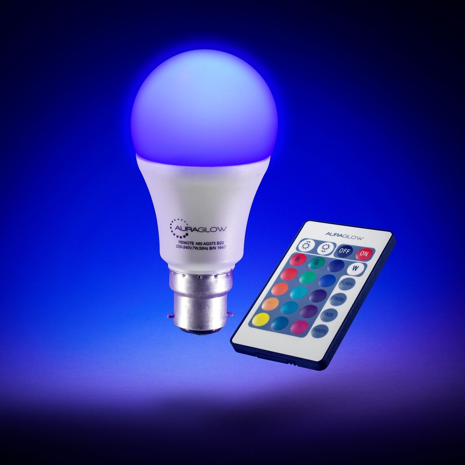 Auraglow Remote Control Colour Changing Dimmable Led Light Bulb B22 Philips 3w Gen V E27 3rd