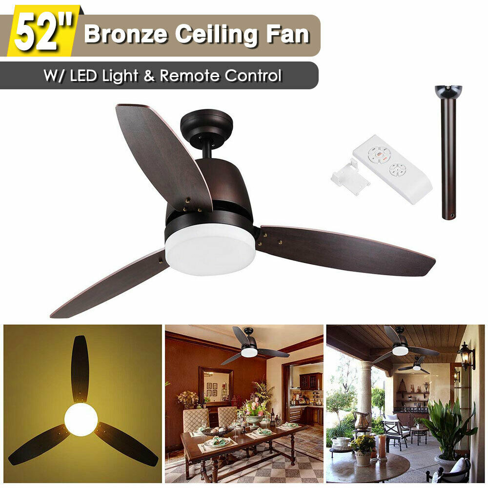 52 Indoor Ceiling Fan Led Light Kit 3 Blades Downrod Remote Control 1 Of 9free