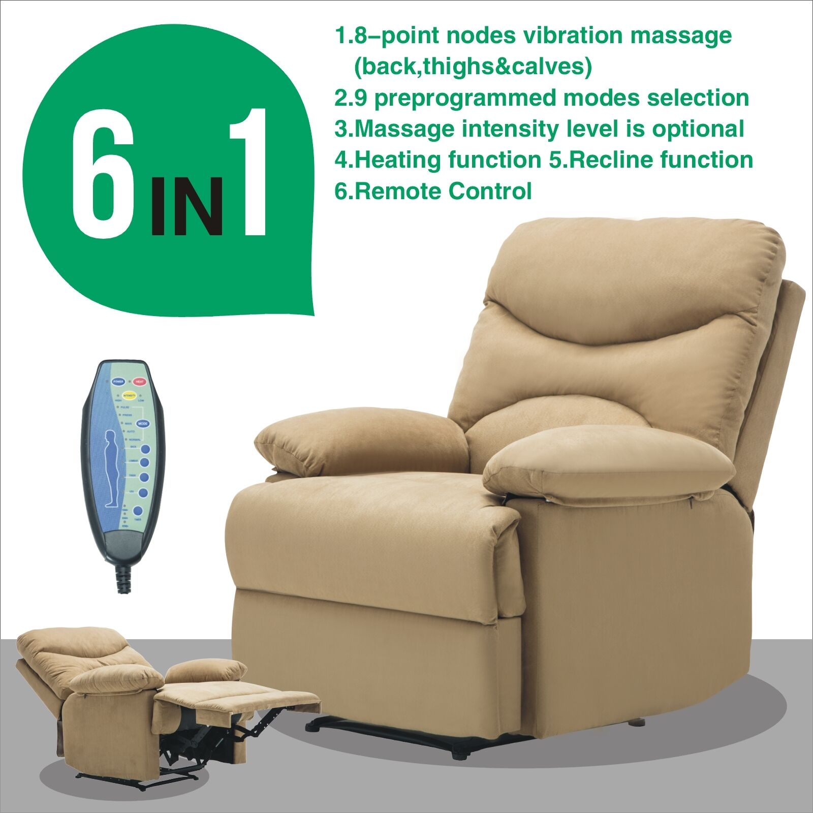 Ergonomic Massage Recliner Sofa Chair Microfiber Lounge Heated With Control  1 Of 11FREE Shipping Ergonomic Massage Recliner Sofa ...
