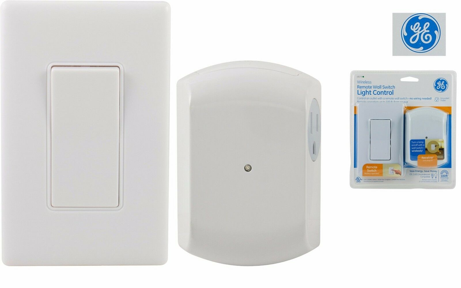 WIRELESS WALL SWITCH Outlet Receiver Light Lamp RF Control Remote No ...