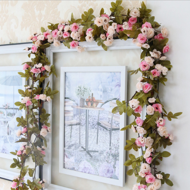 Shabby chic pink rose garland flower vintage style 7ft for Shabby chic garland lights