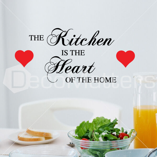 Kitchen heart home wall quote stickers dining room vinyl for Dining room quote decals