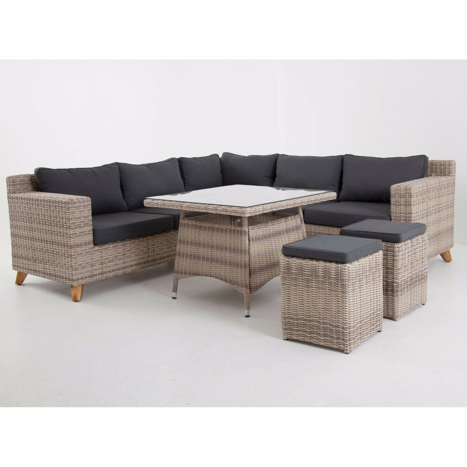 speisegruppe grau braun polyrattan aluminium tischgruppe. Black Bedroom Furniture Sets. Home Design Ideas