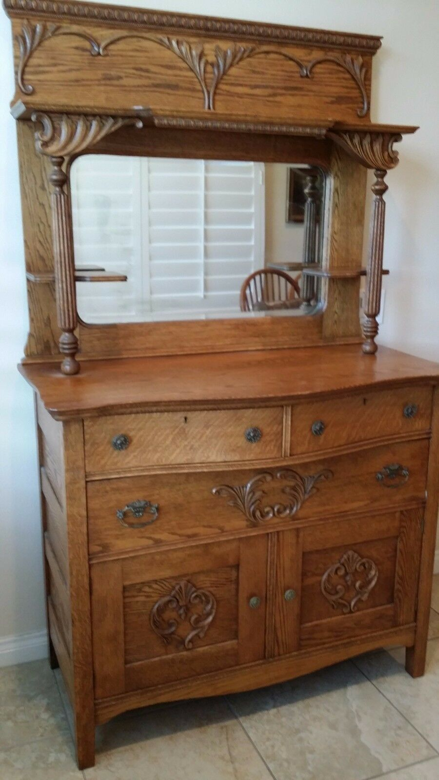 Antique Victorian Quartersawn Tiger Oak Sideboard Buffet Beveled Mirror Back 1 Of 2only Available
