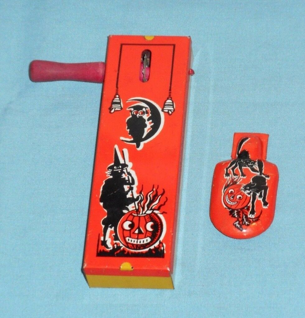 1 of 4free shipping vintage halloween noisemaker lot x2 kirchhof witch jol owl black cat clicker