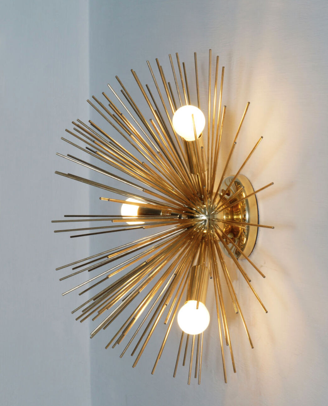 Mid Century Modern Urchin Brass Wall Sconce Sputnik Light - 3 Bulb Wall Lamp 18