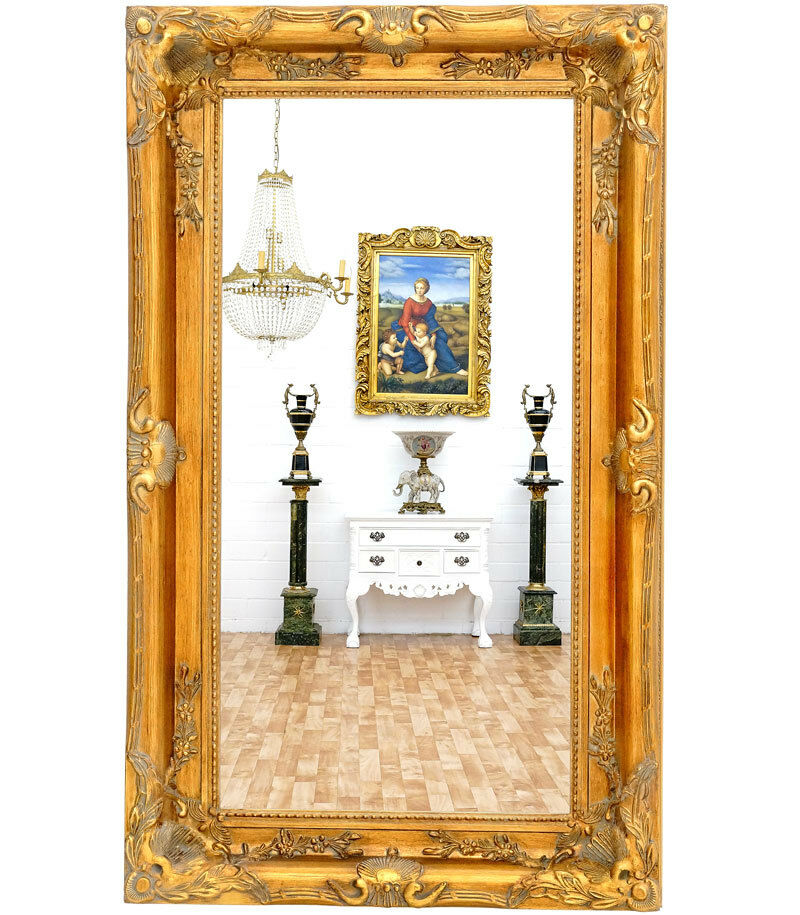grand miroir baroque dore style louis xv 150x90cm gustavien empire rocailles eur 399 00. Black Bedroom Furniture Sets. Home Design Ideas