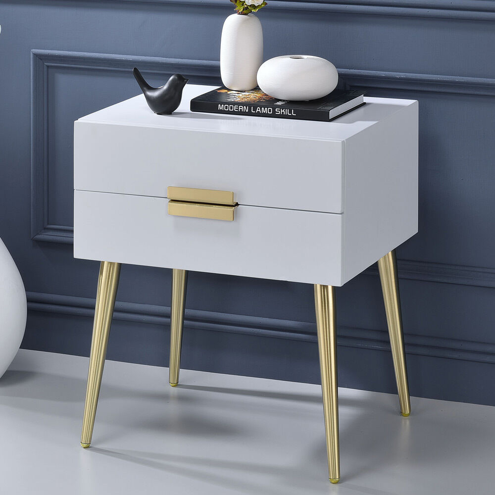 Denvor Modern End Side Table Stand Nightstand Drawers High Gloss White Gold Legs 1 Of 3only 5 Available See More