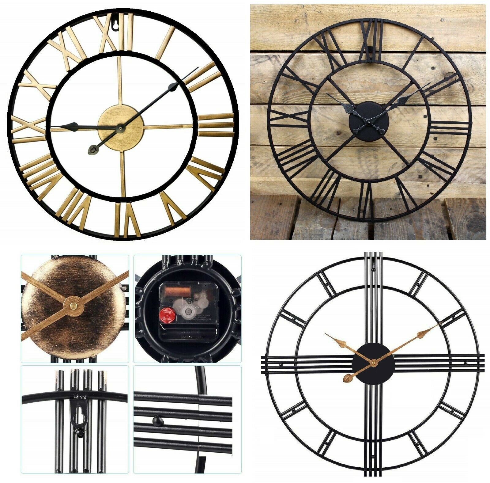 Large outdoor garden wall clock big roman numerals giant open face metal 40 60cm - Large roman numeral wall clocks ...