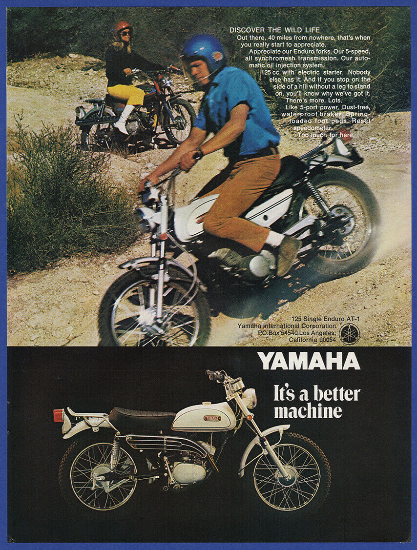 Vintage 1969 Yamaha 125 Single Enduro At 1 Motorcycle Bike Print Ad Dt360 Wiring Diagram Of 1only Available