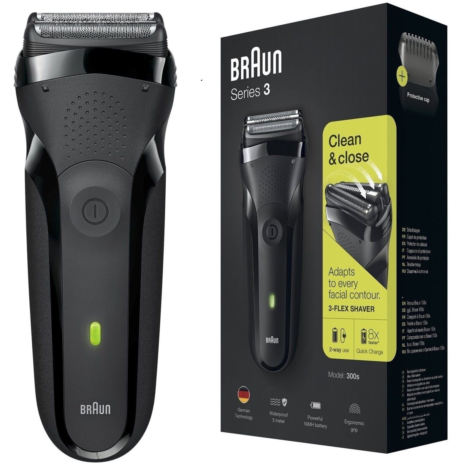 Braun 300s Series 3 Mens Rechargeable Electric Shaver Razor Panasonic Es Rw30 With Flexible Pivoting Head Waterproof Black 1 Of 6only Available See More