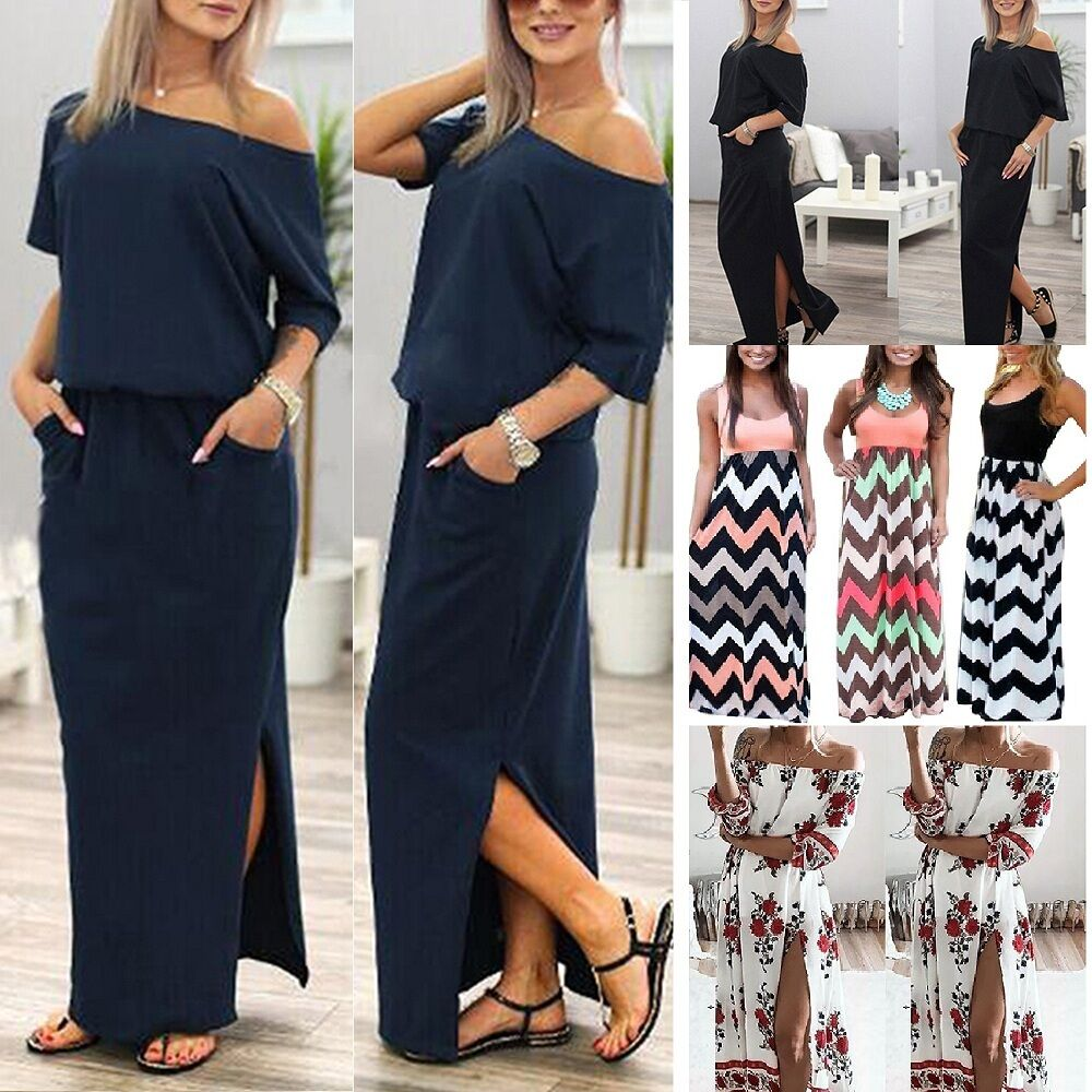 damen kleid sommerkleid strandkleid boho sportkleid party lang top maxi kleider eur 11 99. Black Bedroom Furniture Sets. Home Design Ideas