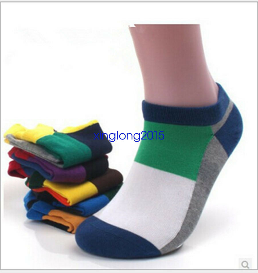 5 Pairs Ankle Crew Mens Socks Cotton Low cut Casual Sport Multi Color Sock  Lot