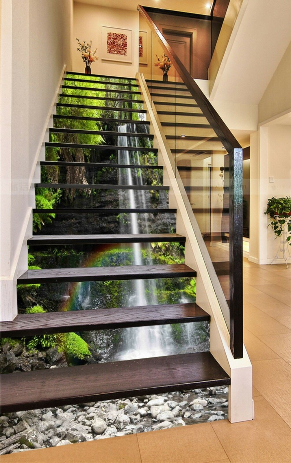 3D Waterfall River Stair Risers Decoration Photo Mural Vinyl Decal  Wallpaper AU 1 Of 5 3D Waterfall River Stair Risers ...
