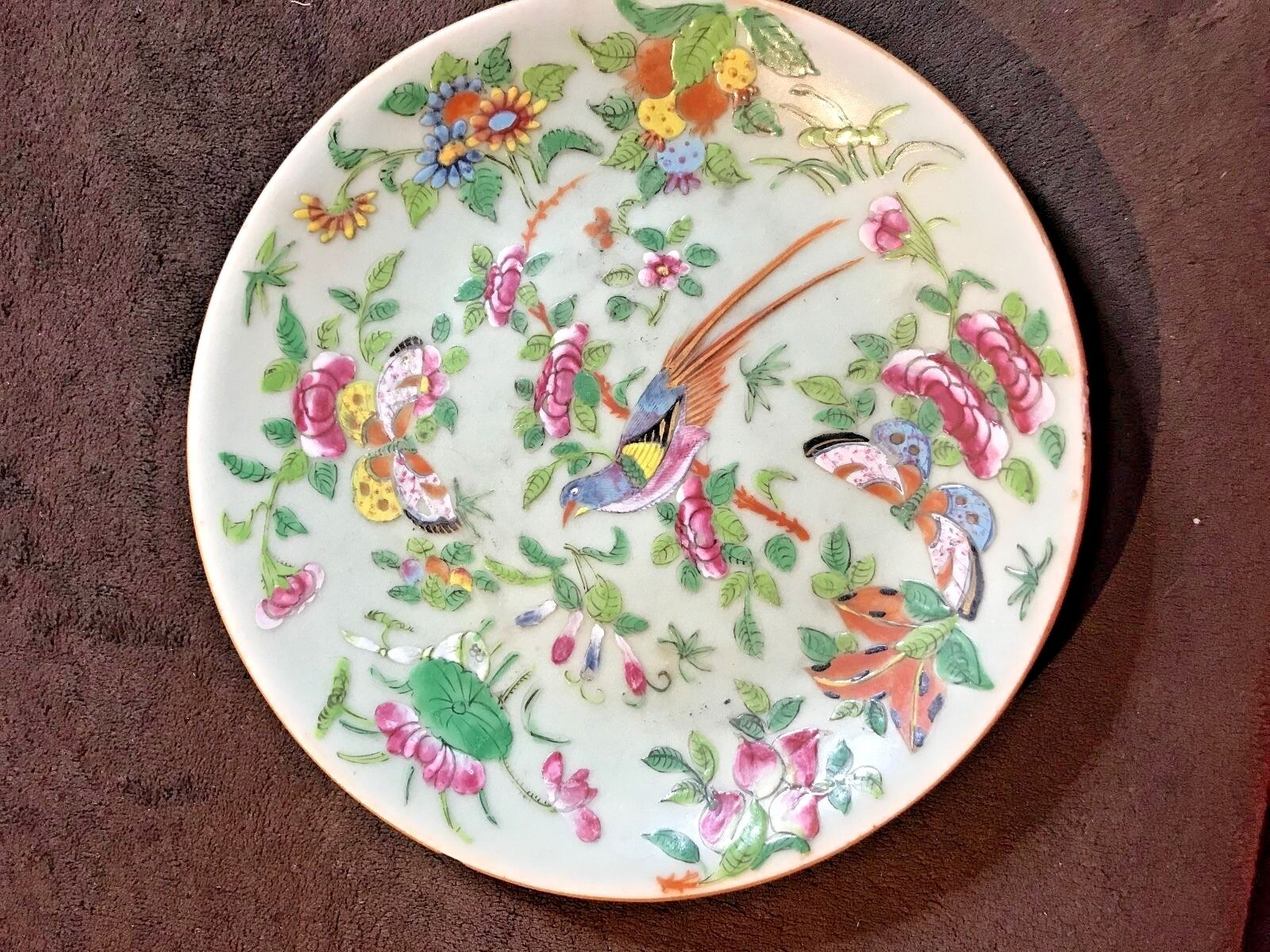 19TH CENTURY CHINESE Celadon Famille Rose 19cm Plate - £30 ...
