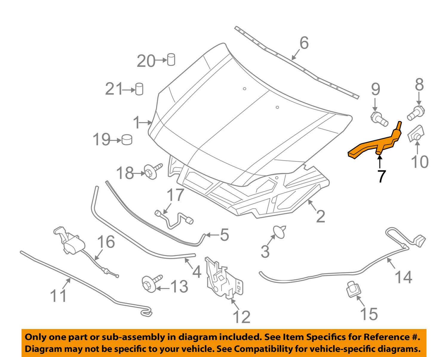 Lincoln Ford Oem 07 12 Mkz Hood Hinge Left 6h6z16797a 2988 2009 Mks Engine Diagram 1 Of 2only Available