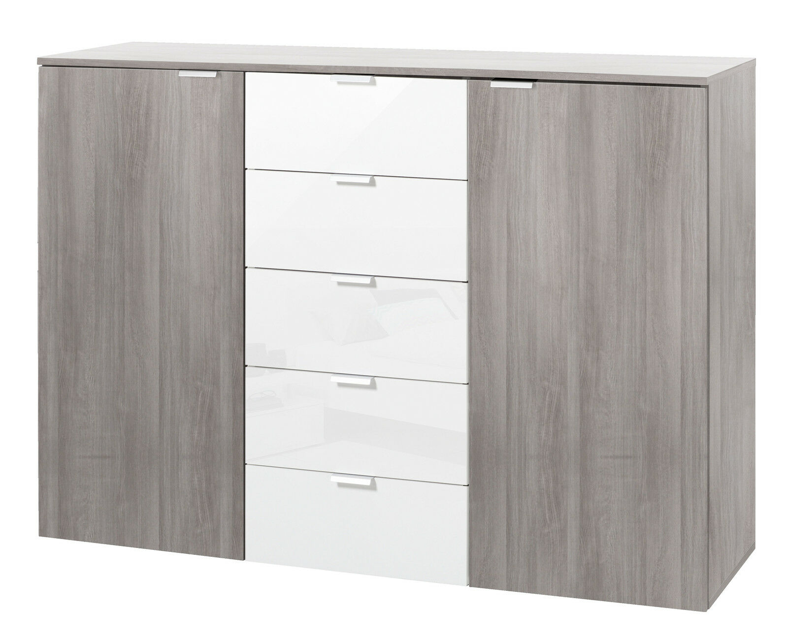kommode sideboard anrichte 2trg 5 schub aktenschrank silber eiche wei hochglanz eur 99 95. Black Bedroom Furniture Sets. Home Design Ideas