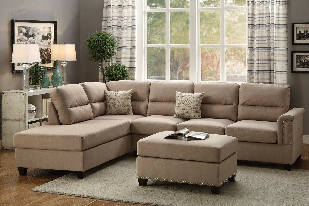 New sand polyfiber reversible 3 pc sectional sofa chaise for 3pc sectional with chaise