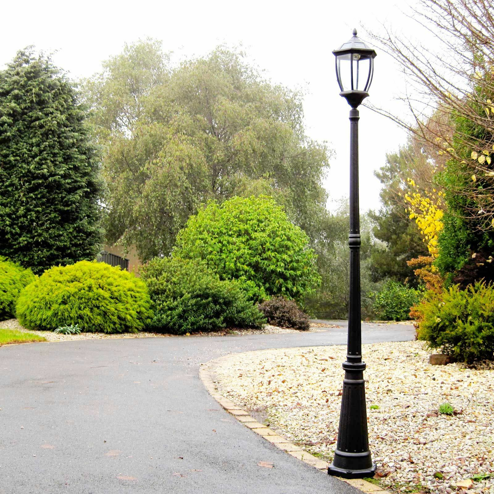 SOLAR GARDEN LAMP POST Black Victorian Style Outdoor Driveway LED Mood Light NEW