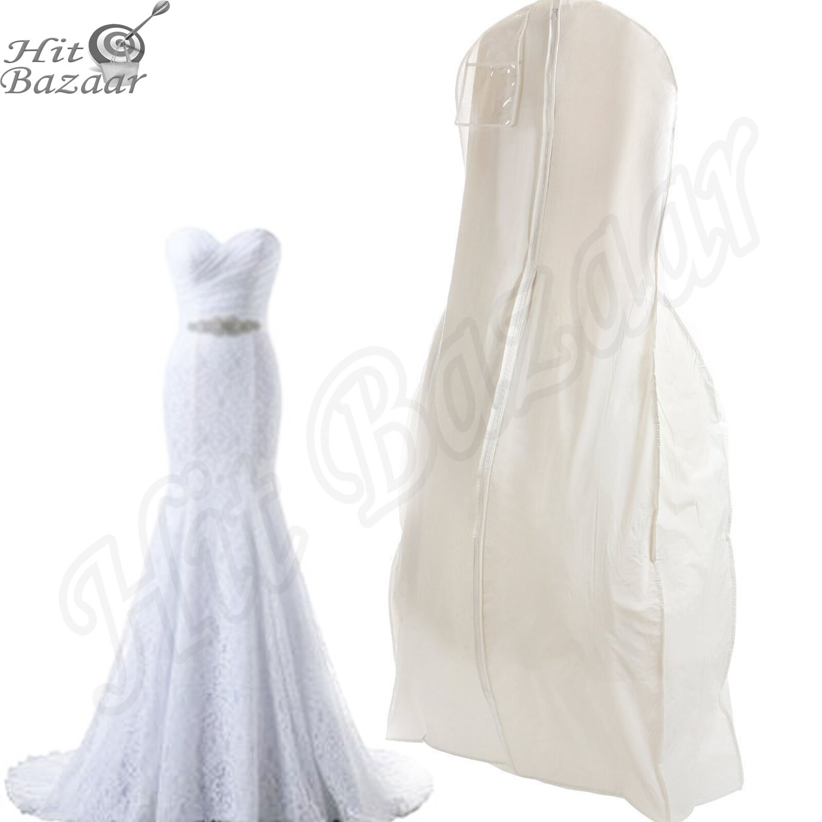 BRIDAL WEDDING DRESS Storage Gown Prom Garment Bag Center Zipper ...