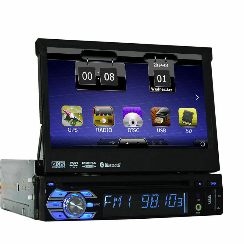 7 touch screen autoradio mit bluetooth navigation gps navi dvd usb mp3 cd 1 din eur 169 90. Black Bedroom Furniture Sets. Home Design Ideas