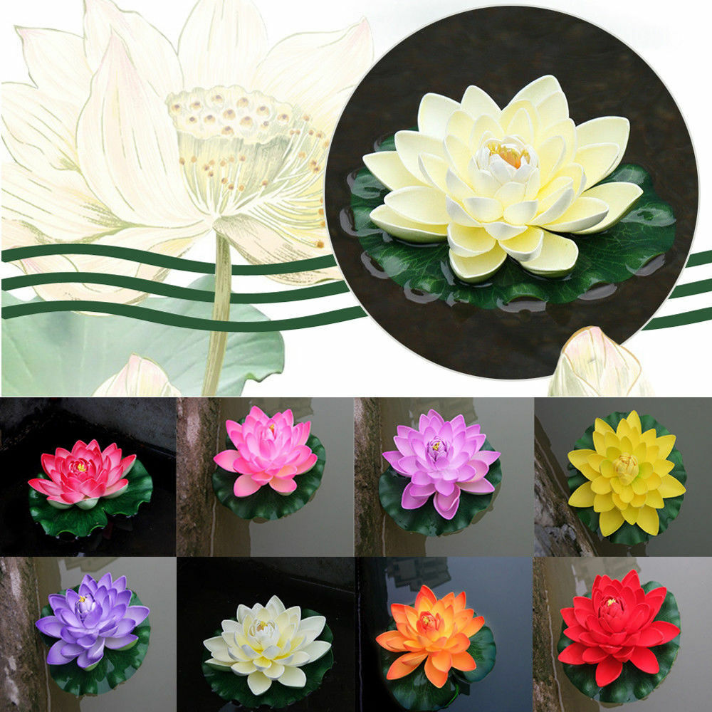 Artificial Fake Lotus Water Lily Floating Flower Garden Pool Plant