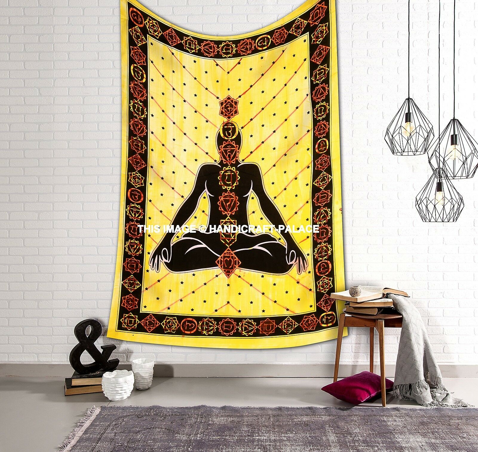 7 CHAKRA TAPESTRY Hippie Psychedelic Wall-Hanging Yoga Meditation ...
