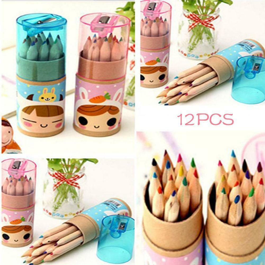 Hot Kids 12pcs Vivid Colouring Pencils Wood School Art Craft Drawing Colored PK
