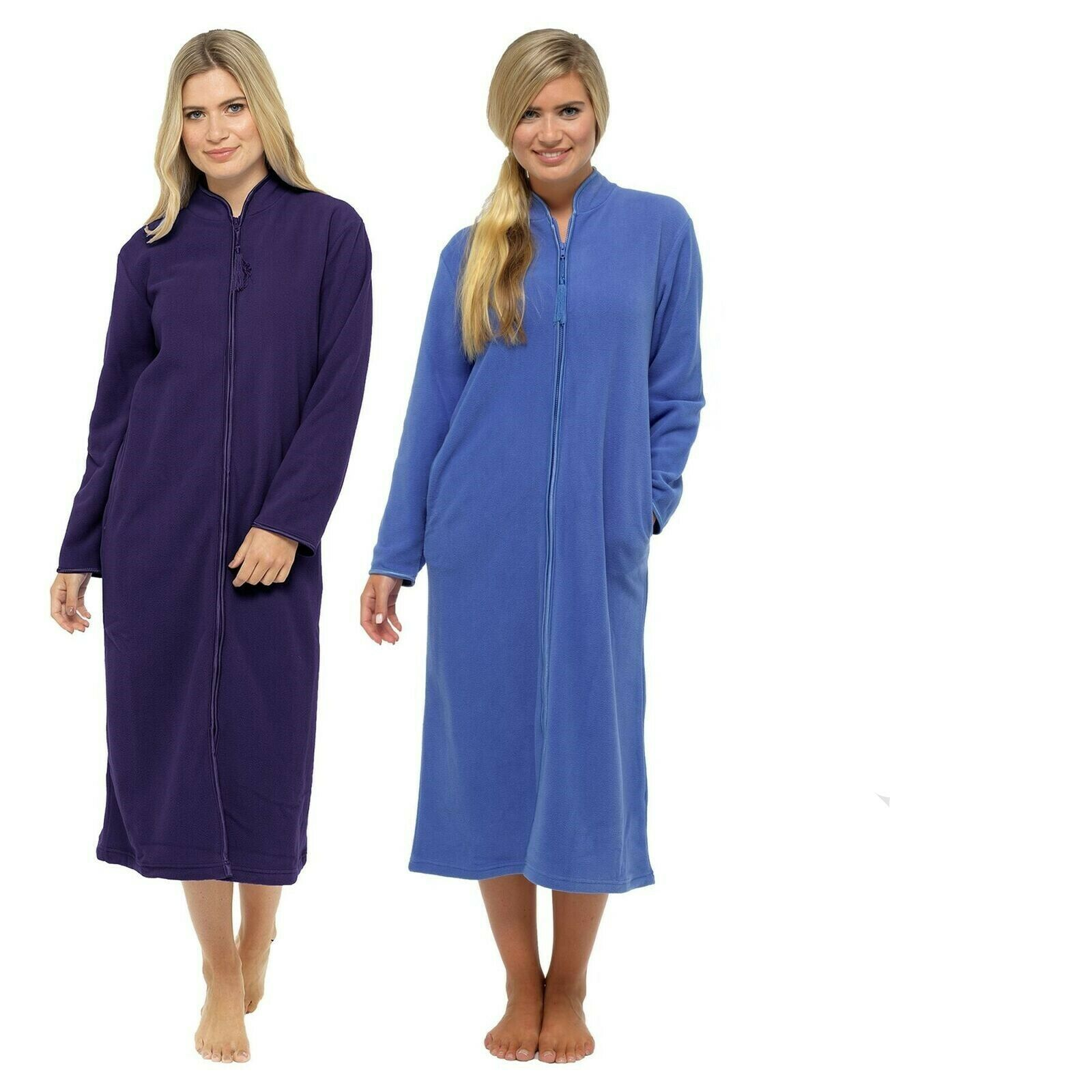 WOMEN\'S ZIP UP Soft Fleece Dressing Gown, Zipped Robe With Satin ...