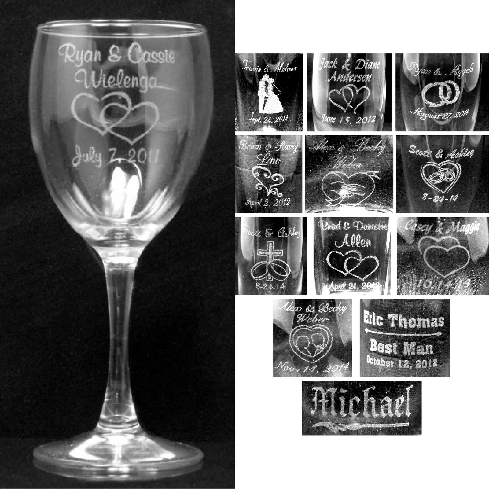 set of 2 personalize wine glasses laser engraved wedding party gifts