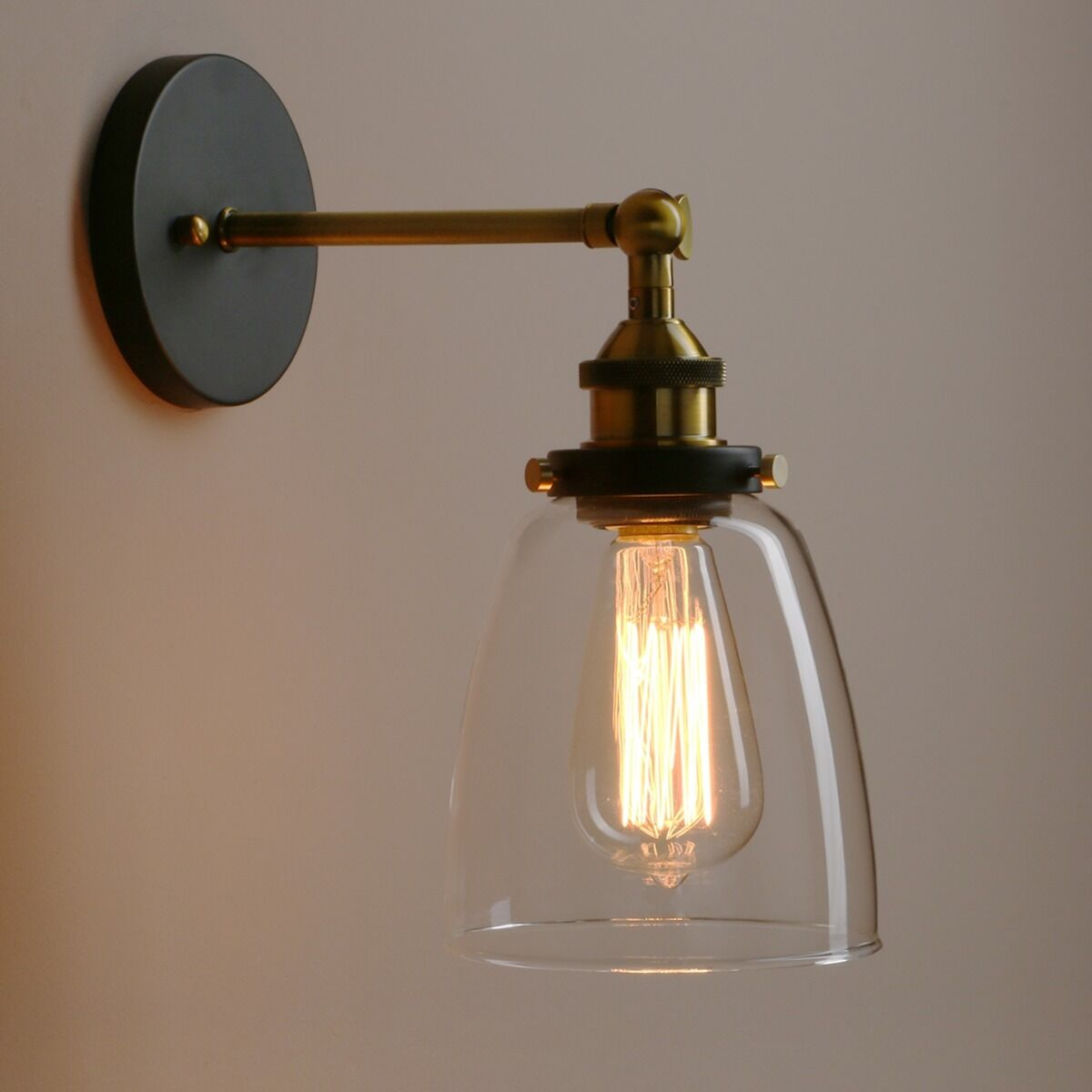 Retro Industrial Style Light Clear Glass Wall Lamp Antique Brass Vintage Sconce ? ?19.90 ...