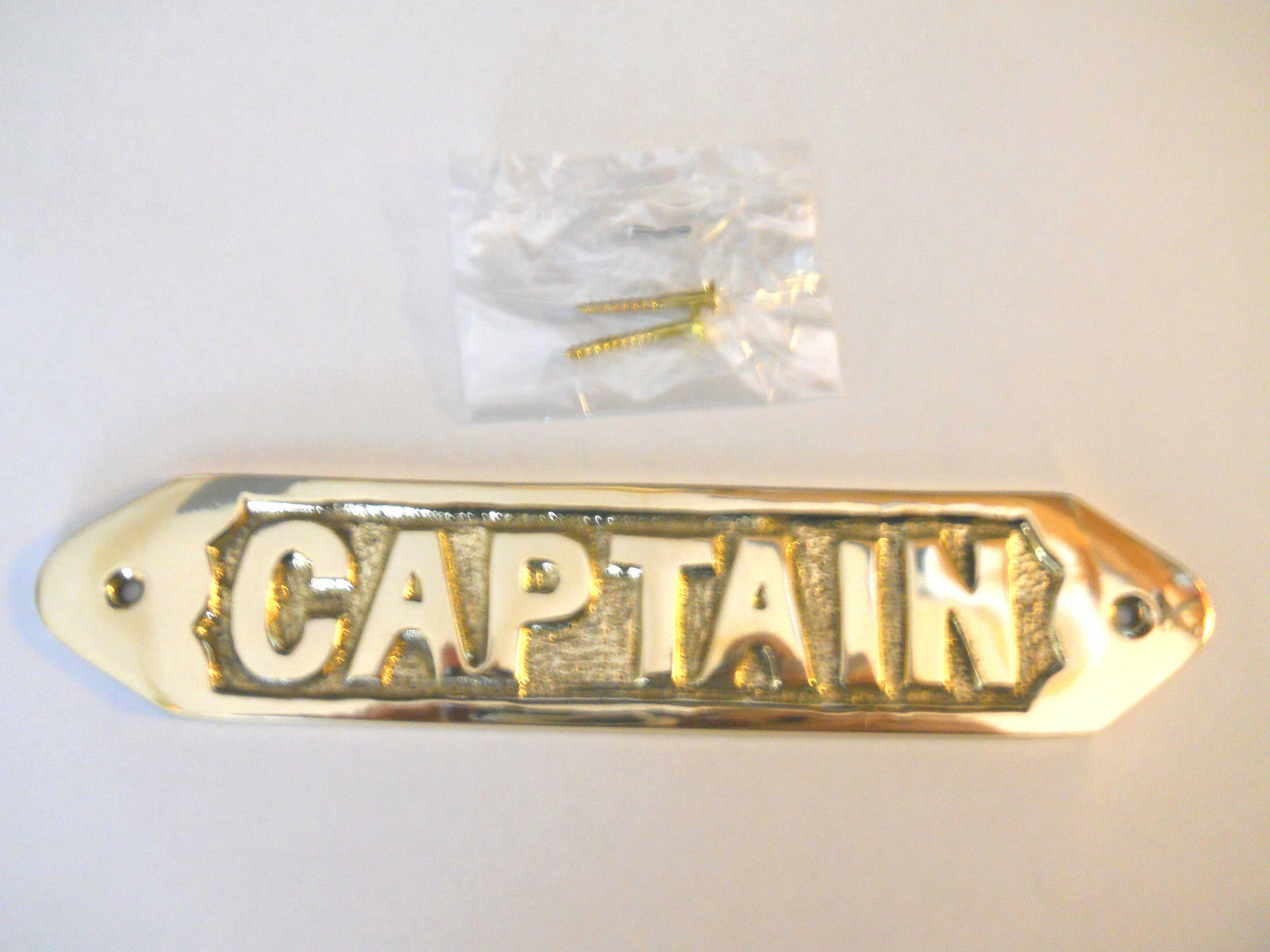 SOLID BRASS CAPTAIN Door Sign Or Wall Plaque Nautical Collectible ...